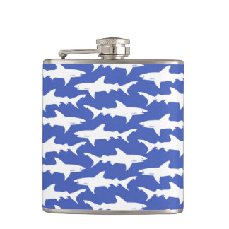 Shark Attack - Blue and White Hip Flask