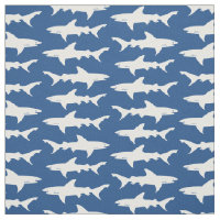 Shark Attack Blue and White School of Sharks