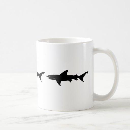 Shark Attack - Diving with Sharks Elegant Black Coffee Mugs