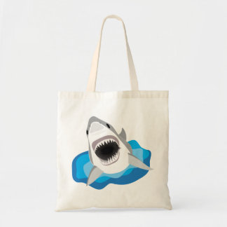 Shark Attack - Great White Shark Leaps from Waves Budget Tote Bag