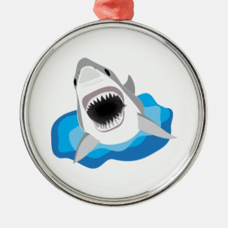 Shark Attack - Great White Shark Leaps from Waves Christmas Ornament