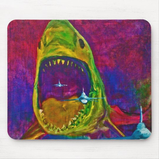 shark  attack mouse mat