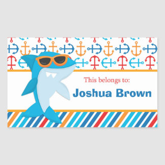 Shark Back to School Personalized Labels Rectangular Sticker