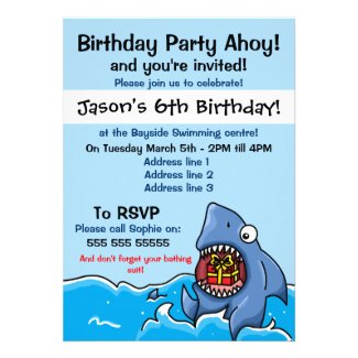 Shark Birthday Party Invitation