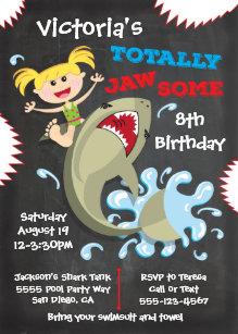 shark birthday invitations zazzle co uk