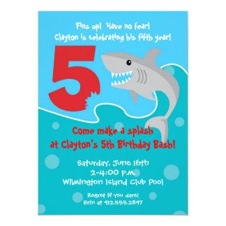 Shark Bite Invite- 5th Birthday Party 14 Cm X 19 Cm Invitation Card