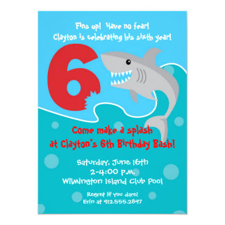 Shark Bite Invite- 6th Birthday Party Card