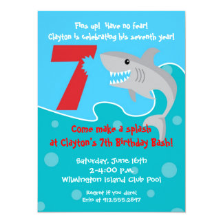 Shark Bite Invite- 7th Birthday Party Card