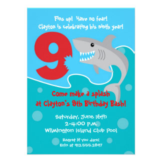 Shark Bite Invite- 9th Birthday Party