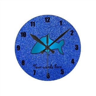 Shark blue glitter round clock
