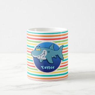 Shark; Bright Rainbow Stripes Basic White Mug