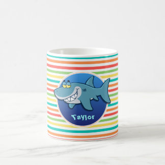 Shark; Bright Rainbow Stripes Coffee Mug