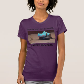 SHARK CAT ON ROOMBA CHASES DUCKLING TSHIRTS