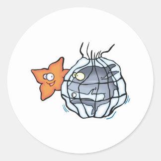 shark caught in net round sticker