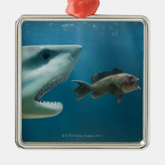 Shark chasing sea bass chasing juvenile Silver-Colored square decoration