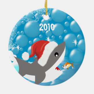 Shark Christmas Family Photo Ornament