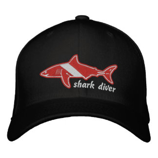 Shark Diver Dive Flag Cap