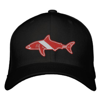 Shark Diver Dive Flag no text Embroidered Hat