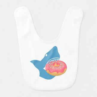 Shark eating a donut bibs