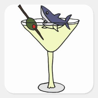 Shark Eating Martini Olive Square Sticker