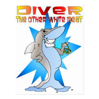 Shark eats Diver Post Card