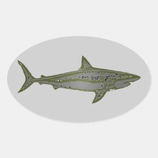 shark fish . wild animal oval sticker