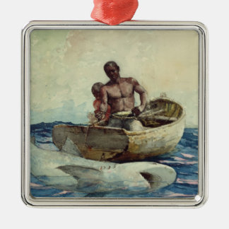 Shark Fishing, 1885 Silver-Colored Square Decoration