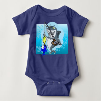 Shark fishing a fish cartoon baby bodysuit