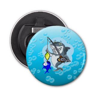 Shark fishing a fish cartoon bottle opener