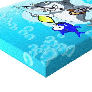 Shark fishing a fish cartoon canvas print