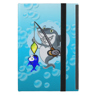 Shark fishing a fish cartoon cover for iPad mini