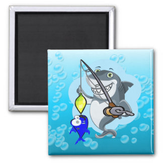 Shark fishing a fish cartoon magnet