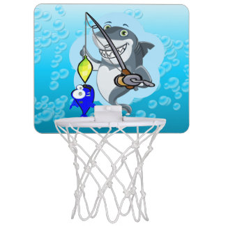 Shark fishing a fish cartoon mini basketball hoop