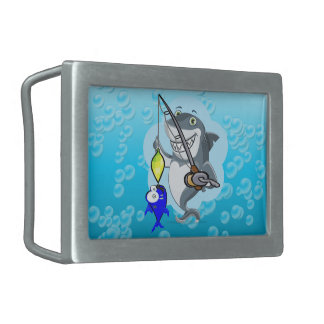 Shark fishing a fish cartoon rectangular belt buckles