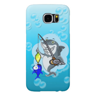 Shark fishing a fish cartoon samsung galaxy s6 cases
