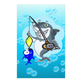 Shark fishing a fish cartoon stationery