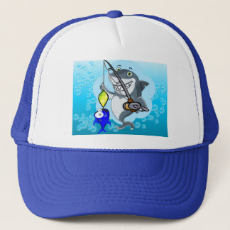 Shark fishing a fish cartoon trucker hat
