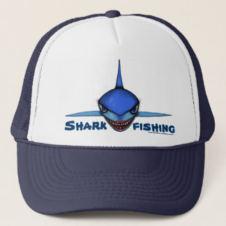 Shark fishing cartoon art cool hat design