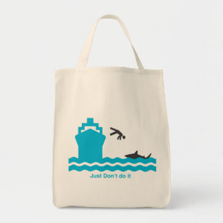 Shark food stupid guy tote bag