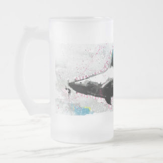 shark frosted glass mug