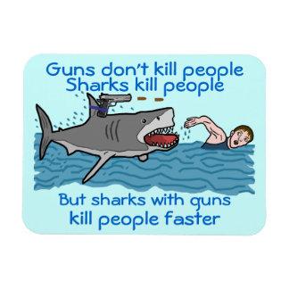 Shark Funny Gun Control Humorous Cartoon Magnet