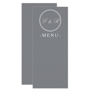 Shark Grey with White Wedding Detail 10 Cm X 24 Cm Invitation Card