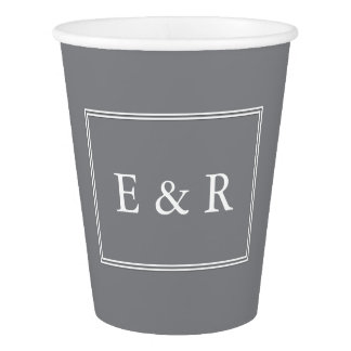 Shark Grey with White Wedding Detail Paper Cup