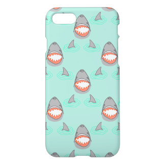 Shark Heads & Fins in Grey on Aqua w/ Ripples iPhone 7 Case