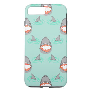 Shark Heads & Fins in Grey on Aqua w/ Ripples iPhone 7 Plus Case