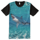 Shark image Men's All-Over Printed Panel T-Shirt