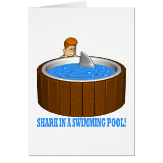 Shark In A Swimming Pool Greeting Cards