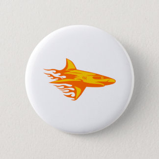 Shark in Flames 6 Cm Round Badge