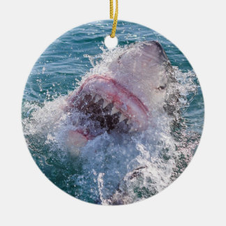 Shark in the water christmas ornament