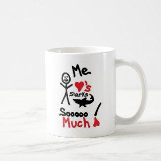 Shark Lover Cartoon Basic White Mug